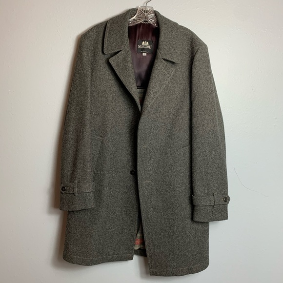 MENS HEAVY STAFFORD WOOL OVERCOAT 42L—button off